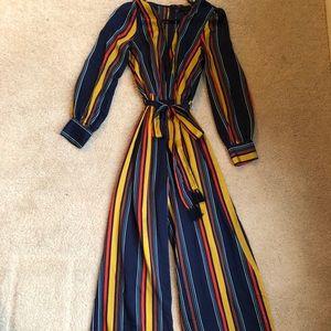 Long Sleeve Multi Colored Jumpsuit